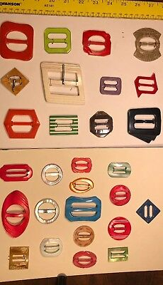 A Collection Of 28 MOP Bakelite Celluloid Glass Buckles From The Art Deco Era