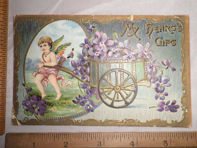 1913 Valentine Postcard Cupid with Cart Full of Violets