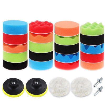 Car 3'' Polishing Sponge Waxing Buffing Pads Tool Kits Compound + Drill Adapter