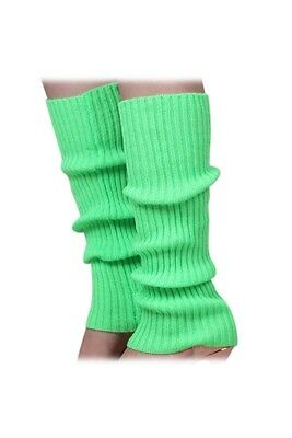 Women's Solid Color Knitted Foot less Leg Warmers Green C5Y2