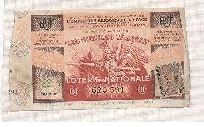 Billet De Loterie Nationale Ww Ii Union Des Blessés De La Face 1942 22 Tranche