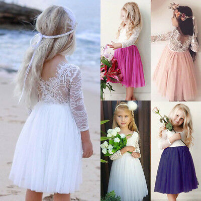 UK Princess Kids Baby Flower Girl Dress Lace Tulle Party Pageant Formal Dresses