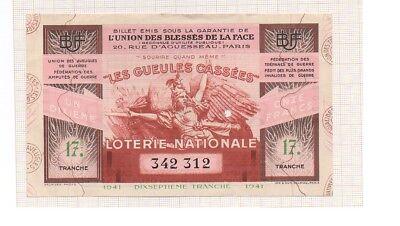Billet De Loterie Nationale Ww Ii Union Des Blessés De La Face 1942 ~ 17 Tranche