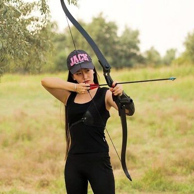 "Black 56"" 50lbs Takedown Archery Recurve Bow Longbow Target  Hunting Toparchery"