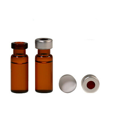 2ml Amber glass Vial Sample Vials+Cap Flip Top Aluminum Crimp Seal Set of 100pcs
