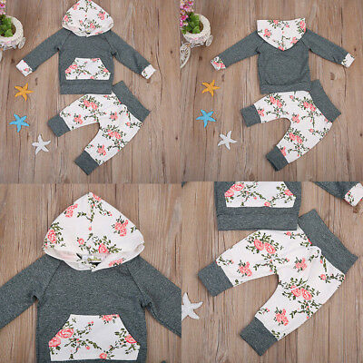 2PCS Newborn Kids Baby Girl Clothes Hooded Sweater Tops+Floral Pants Outfits Set