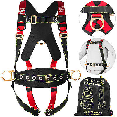 Fall Protection Construction Harness Full Body Safety Search Red and Black