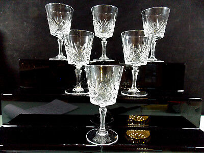 Lot N°4-Cristal D'arques-6 Verres A Vin Blanc Service Chantilly Beaugency