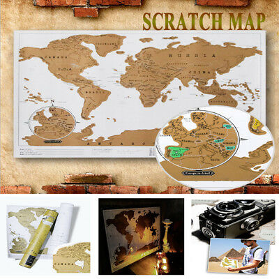 Travel Edition Scratch Off World Map Poster Personalized Journal Log Gift Decor