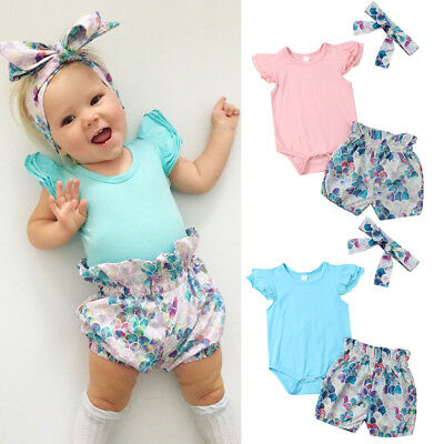 AU Newborn Baby Girl Mermaid Clothes Tops Romper Shorts Pants 3Pcs Outfits