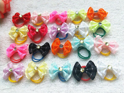 50pcs Hand made Small Dogs Cute Hair Bows rubber band  Pet Hair Accessories