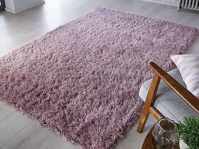 Modern Purple Mauve Cosy Shaggy Rugs Soft Thick Furry Polyester Living Room Rug