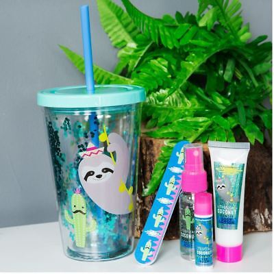 Body Care Gift Set in Sloth & Cactus Design Insulated Cup & Straw