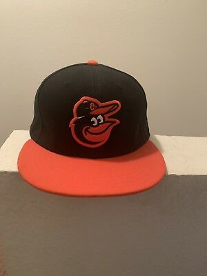 uk availability 9dc72 f2ff6 New Era Baltimore Orioles ROAD 59Fifty Fitted Hat (Black Orange) MLB Cap