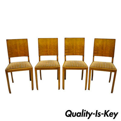 Set of 4 Antique French Art Deco Mahogany Inlaid Dining Room Side Chairs