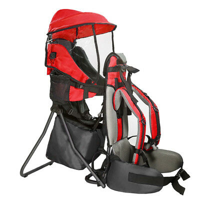 Clevr Baby Toddler Backpack Camping Hiking Child Kid Carrier w/ Shade Visor, Red