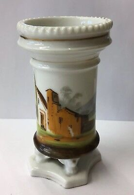 Antique 19th Century French Spill Vase Hand Painted With Beautiful French Home