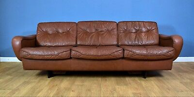 Mid Century Retro Danish Madsen & Schubell Brown Leather 3 Seat Sofa Settee 70s