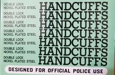 Designed for OFFICIAL POLICE USE Double Lock Nickle Plated Steel Handcuffs