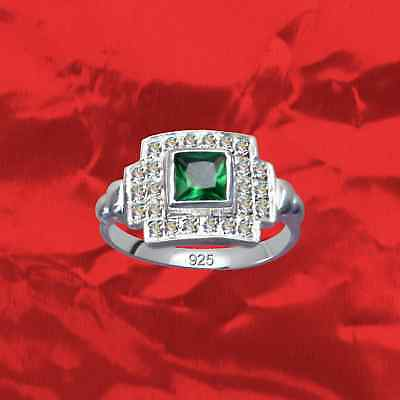 Exclusive Art Deco Silver Ring Real 925 Sterling Zirconia Women's Rhinestone