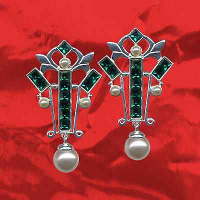 Art Deco Studs Real 925 Sterling Silver Sttrass Zirconia + Pearls