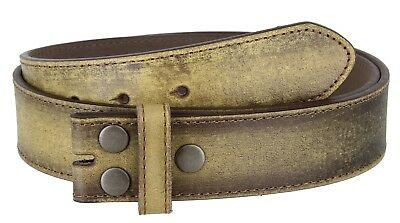 """Vintage Distressed Style Genuine Leather Casual Belt Strap 1-1/2"""" Wide, TAN"""