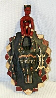 Antique Hand-Carved Ceremonial Tribal Mask w/ Woman, Ox, Lizard, & Snake