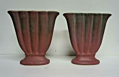 """Pair Muncie Art Pottery Green over Lilac #186 Fan Vases Indiana 8"""""""
