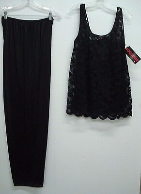 NWT Coquette 3 Piece Pajamas Sleepwear Pants Top Cover Top Size 3X Black #892Q