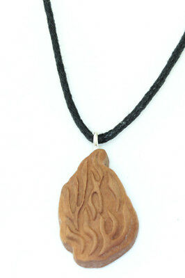 olive wood Shema Shma Israel Flamed Jewish Necklace