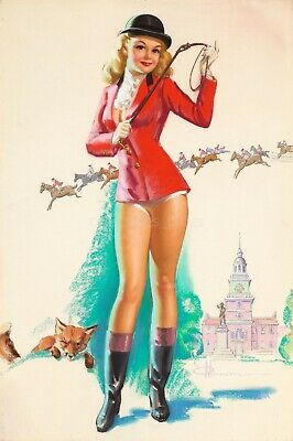 Fox Hunt Vintage Poster PinUp Girl Art Print by Knute Munson 24x36