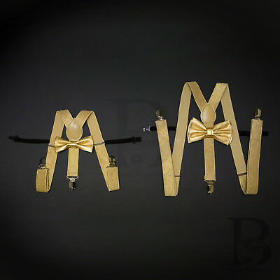 Suspender and Bow Tie Soft Gold Father Son Set Combo for Adults Men Toddler