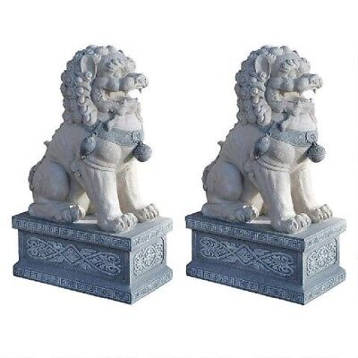 "Set of 2 30"" Asian Chinese Foo Lion SHI Dog Symbol of Energy Strength Sculptures"