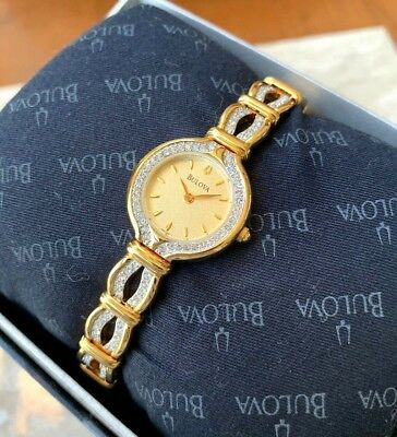 Bulova Women's 98T99 Gold Tone Watch Crystal Accents Stainless Steel Band Case 1