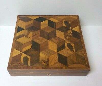 Rare 19th C. Walnut Travel Desk / Writing Slope, Tumbling Cubes Design