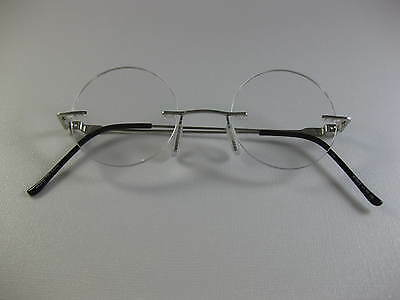 RIMLESS ROUND Small Steve Jobs Inspire SILVER Reading Glasses Flex Temples +1.75
