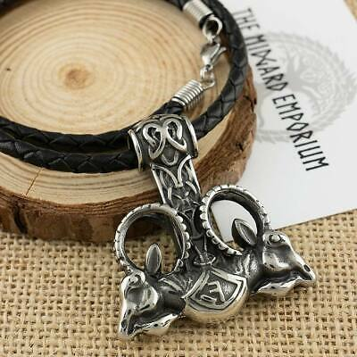 Viking Necklace Rams Head Thors Hammer Stainless Steel Pendant