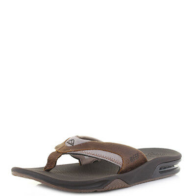 88d1510c744b Mens Reef Fanning Leather Brown Classic Sporty Thong Flip Flops Sz Size