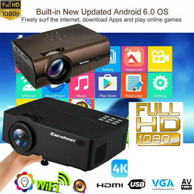 Multimedia 4K 3D WiFi Android 6.0 Wireless LED Projector Home Cinema HDMI 1080P