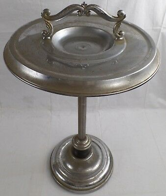 """Silver Plated Cigar/Cigarette Ashtray Metal Smoking Stand, 26"""""""
