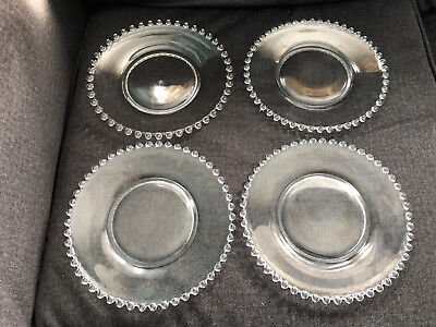 """Sweet IMPERIAL GLASS Plates in CANDLEWICK Pattern 8 1/4"""" (lot of 4) 4pcs"""