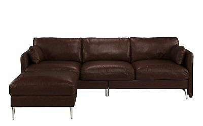 DARK BROWN CLASSIC Modern Leather Sectional Sofa, L Shape ...