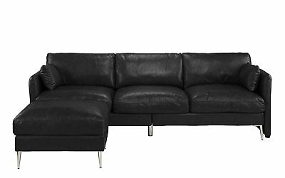 BLACK CLASSIC MODERN Leather Sectional Sofa, L Shape Reversible Couch,  93.7\