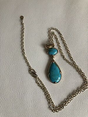 """Hsn Studio Barse Turquoise And Coral Pendant Bronze Chaine Necklace 30""""."""