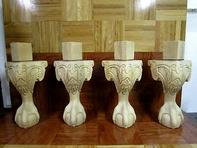 Unfinished Ball And Claw Furniture Feet Legs With Fancy Carvings 131 2 Set
