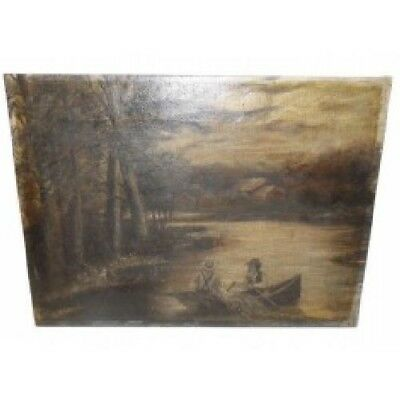 Antique Naive Folk Art Oil Painting on Canvas of Men Fishing Row Boat Lake Side