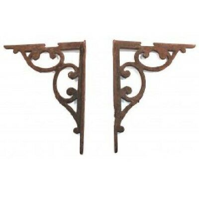 Pair Cast Iron Antique Victorian Early Industrial Shelf Brackets with Scrolls
