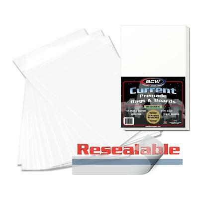 100 High Quality BCW Premade Resealable Current Comic Bag and Board