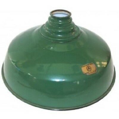 NOS Green Porcelain Enamel Outside Light Shade Gas Station Barn Globe