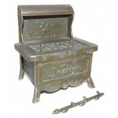 Antique Nickel Plated Cast Brass Savage Stove Figural Match Holder